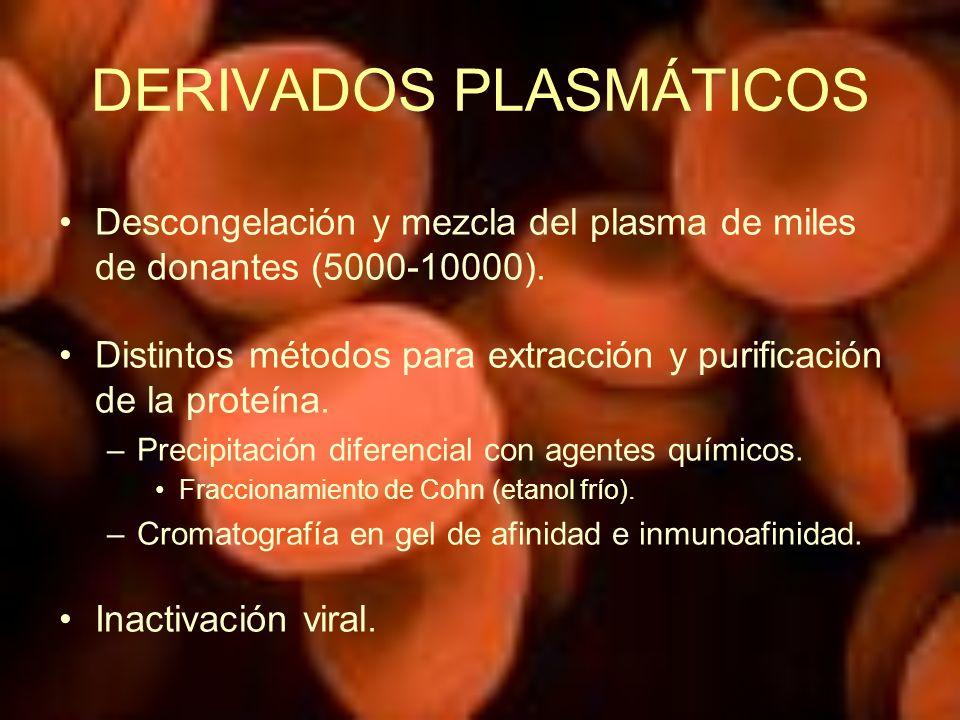 DERIVADOS PLASMÁTICOS Descongelación y mezcla del plasma de miles de donantes (5000-10000). Distintos métodos para extracción y purificación de la pro