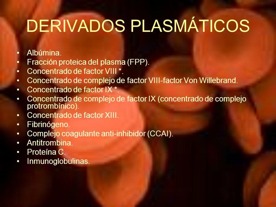 DERIVADOS PLASMÁTICOS Albúmina. Fracción proteica del plasma (FPP). Concentrado de factor VIII *. Concentrado de complejo de factor VIII-factor Von Wi