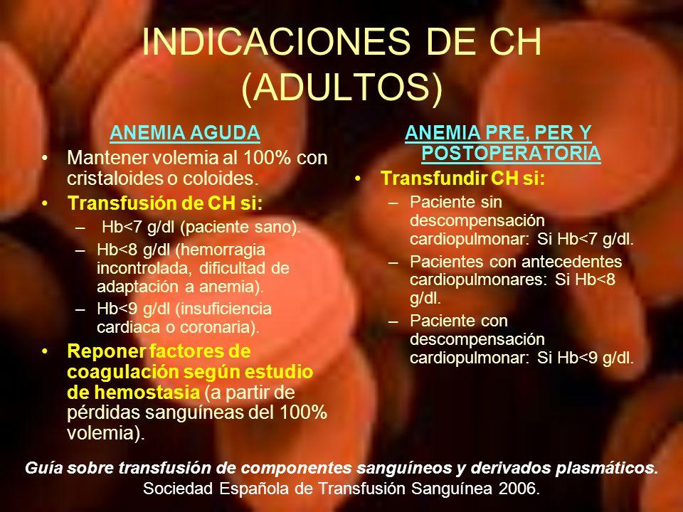 INDICACIONES DE CH (ADULTOS) ANEMIA AGUDA Mantener volemia al 100% con cristaloides o coloides. Transfusión de CH si: – Hb<7 g/dl (paciente sano). –Hb