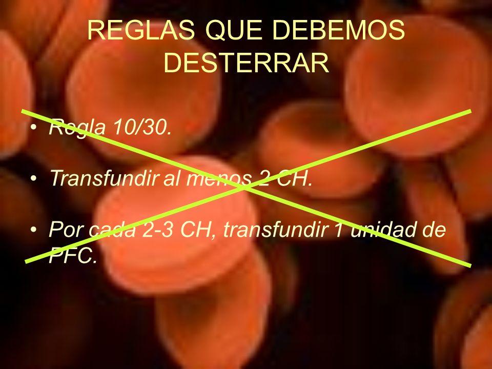 REGLAS QUE DEBEMOS DESTERRAR Regla 10/30. Transfundir al menos 2 CH. Por cada 2-3 CH, transfundir 1 unidad de PFC.