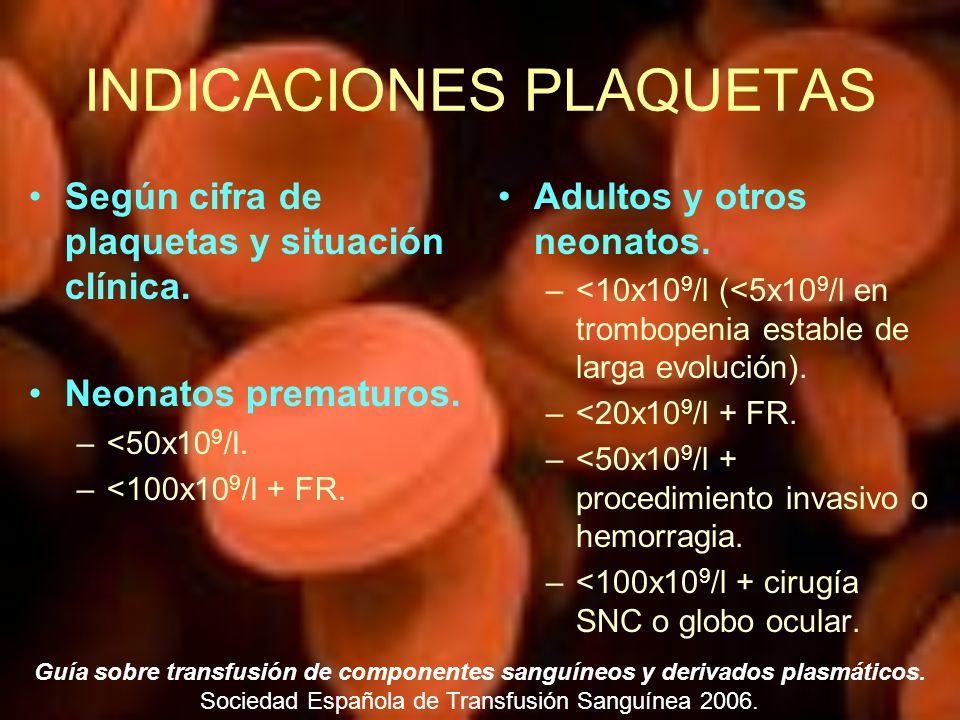 INDICACIONES PLAQUETAS Según cifra de plaquetas y situación clínica. Neonatos prematuros. –<50x10 9 /l. –<100x10 9 /l + FR. Adultos y otros neonatos.