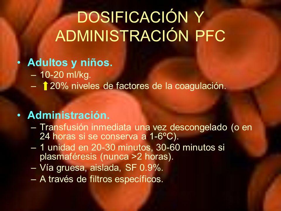 DOSIFICACIÓN Y ADMINISTRACIÓN PFC Adultos y niños. –10-20 ml/kg. – 20% niveles de factores de la coagulación. Administración. –Transfusión inmediata u