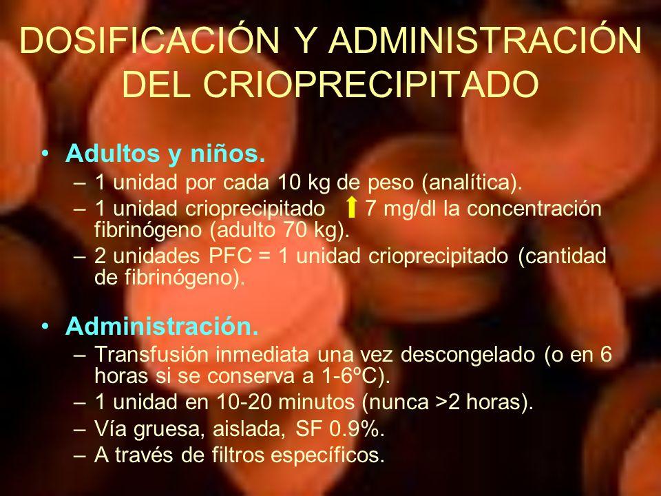 DOSIFICACIÓN Y ADMINISTRACIÓN DEL CRIOPRECIPITADO Adultos y niños. –1 unidad por cada 10 kg de peso (analítica). –1 unidad crioprecipitado 7 mg/dl la