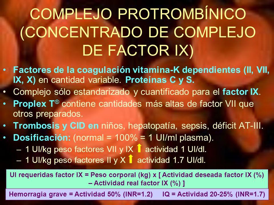 COMPLEJO PROTROMBÍNICO (CONCENTRADO DE COMPLEJO DE FACTOR IX) Factores de la coagulación vitamina-K dependientes (II, VII, IX, X) en cantidad variable