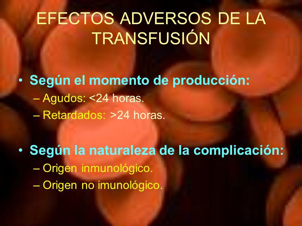 Según el momento de producción: –Agudos: <24 horas. –Retardados: >24 horas. Según la naturaleza de la complicación: –Origen inmunológico. –Origen no i