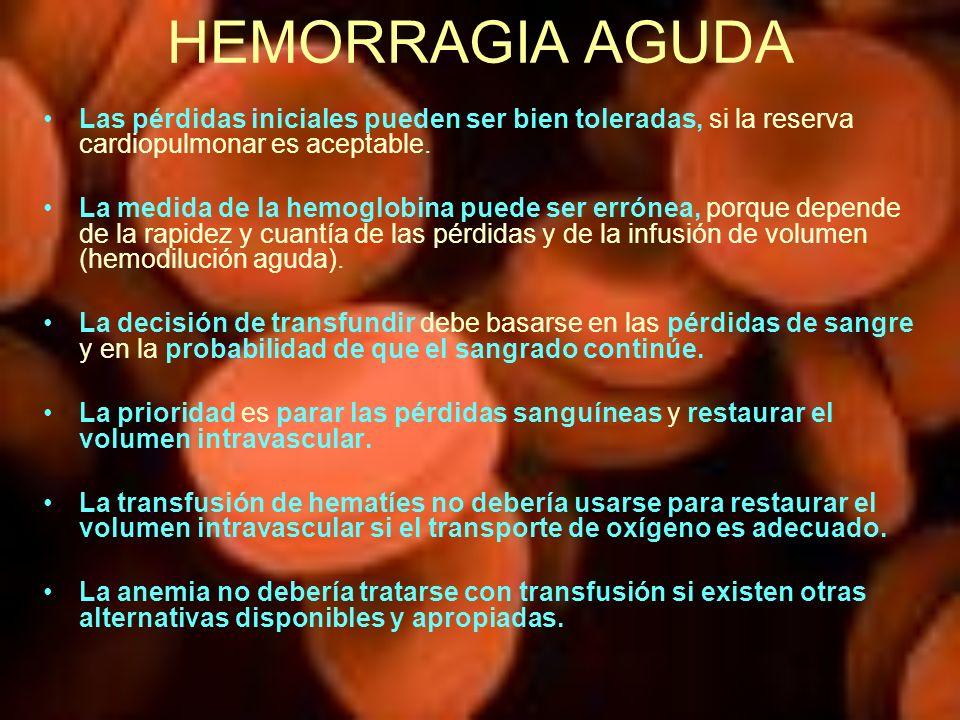 HEMORRAGIA AGUDA Las pérdidas iniciales pueden ser bien toleradas, si la reserva cardiopulmonar es aceptable. La medida de la hemoglobina puede ser er
