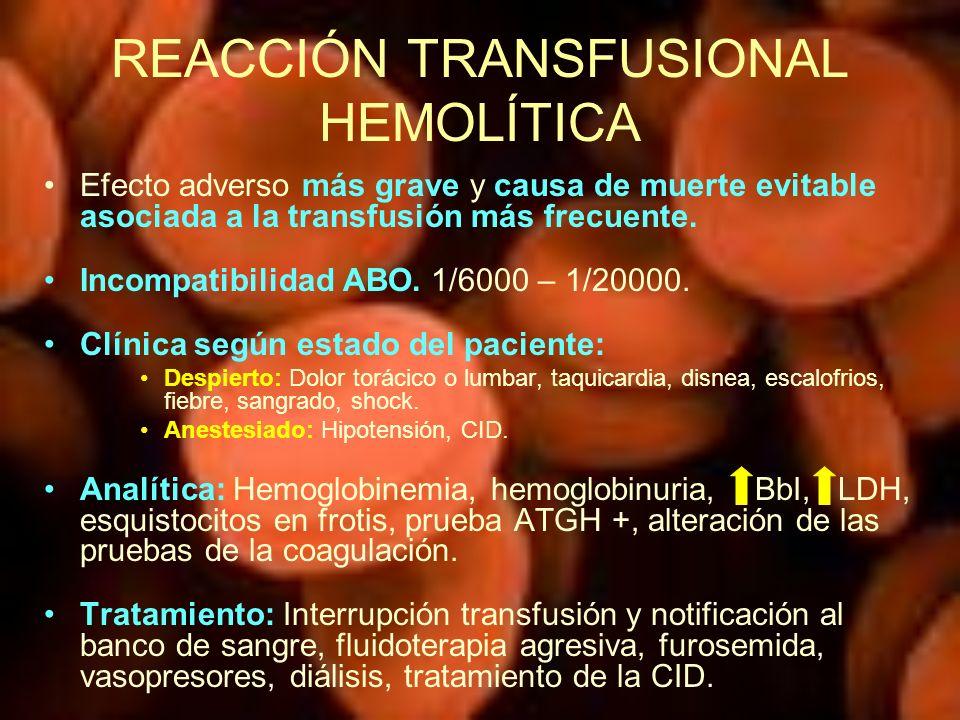 REACCIÓN TRANSFUSIONAL HEMOLÍTICA Efecto adverso más grave y causa de muerte evitable asociada a la transfusión más frecuente. Incompatibilidad ABO. 1
