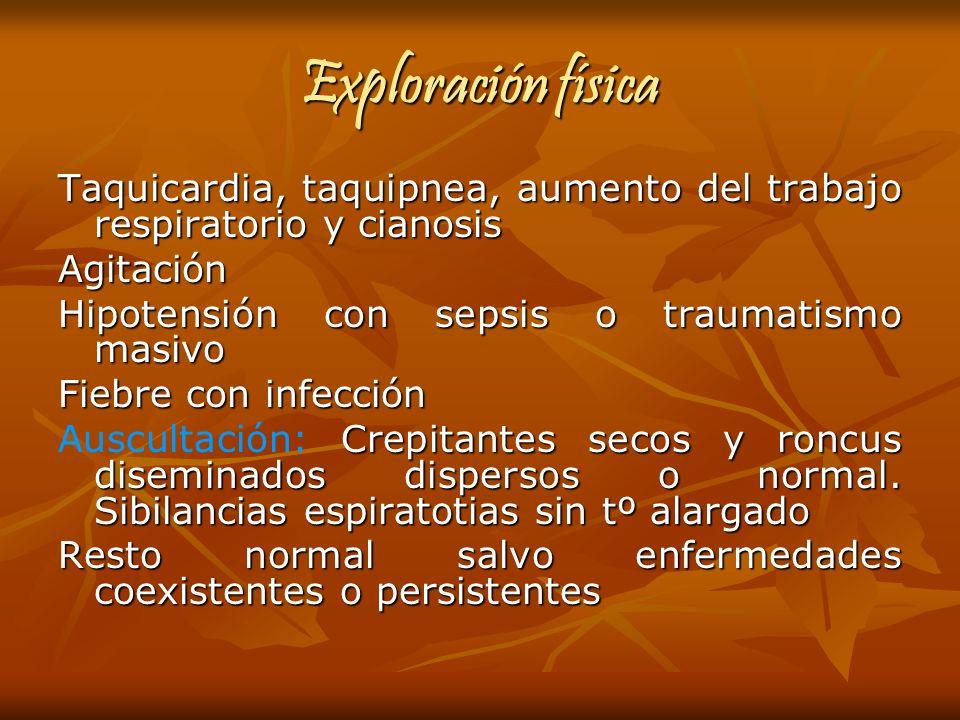 Exploración física Taquicardia, taquipnea, aumento del trabajo respiratorio y cianosis Agitación Hipotensión con sepsis o traumatismo masivo Fiebre co