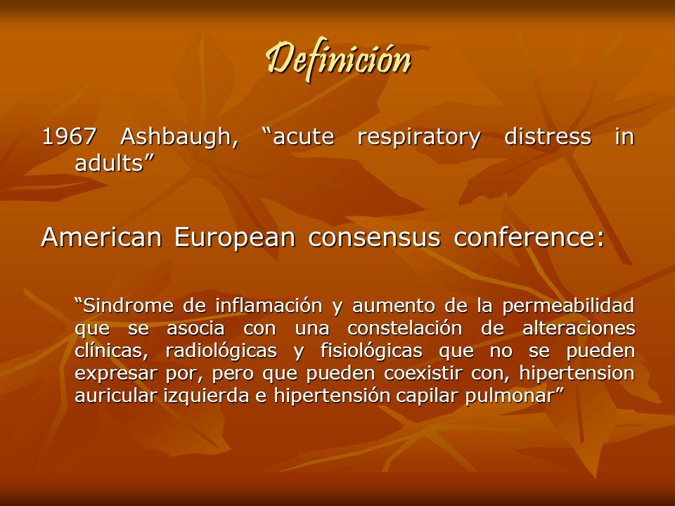 Definición 1967 Ashbaugh, acute respiratory distress in adults American European consensus conference: Sindrome de inflamación y aumento de la permeab