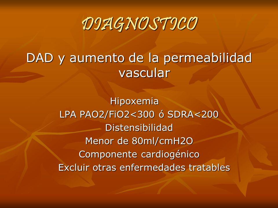 DIAGNOSTICO DAD y aumento de la permeabilidad vascular Hipoxemia Hipoxemia LPA PAO2/FiO2<300 ó SDRA<200 Distensibilidad Menor de 80ml/cmH2O Componente