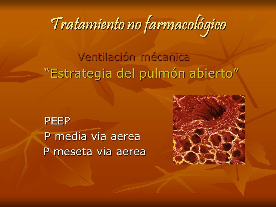Tratamiento no farmacológico Ventilación mécanica Ventilación mécanica Estrategia del pulmón abierto PEEP P media via aerea P meseta via aerea P meset