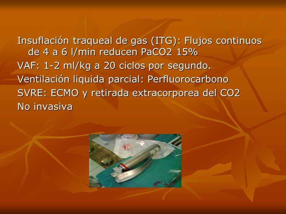 Insuflación traqueal de gas (ITG): Flujos continuos de 4 a 6 l/min reducen PaCO2 15% VAF: 1-2 ml/kg a 20 ciclos por segundo. Ventilación liquida parci