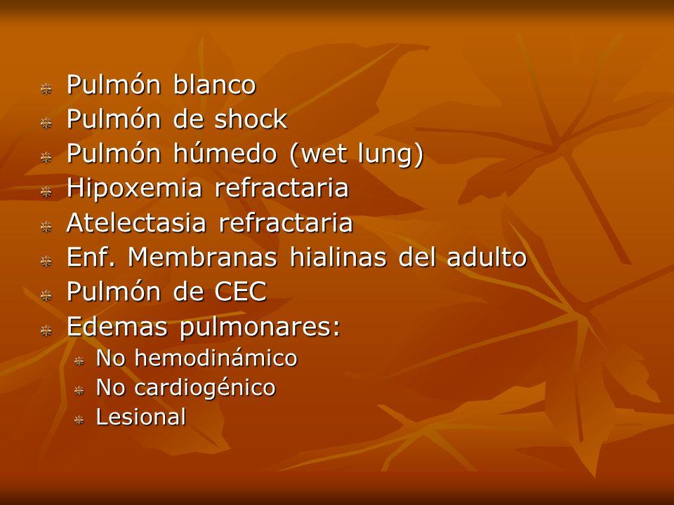 Pulmón blanco Pulmón de shock Pulmón húmedo (wet lung) Hipoxemia refractaria Atelectasia refractaria Enf. Membranas hialinas del adulto Pulmón de CEC