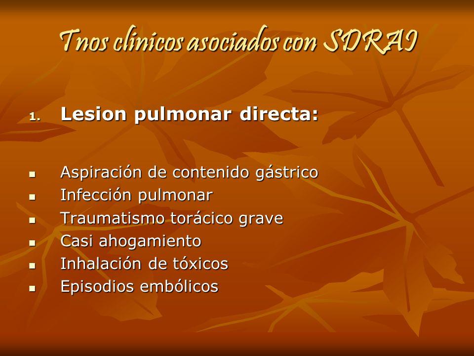 Tnos clinicos asociados con SDRAI 1. Lesion pulmonar directa: Aspiración de contenido gástrico Aspiración de contenido gástrico Infección pulmonar Inf