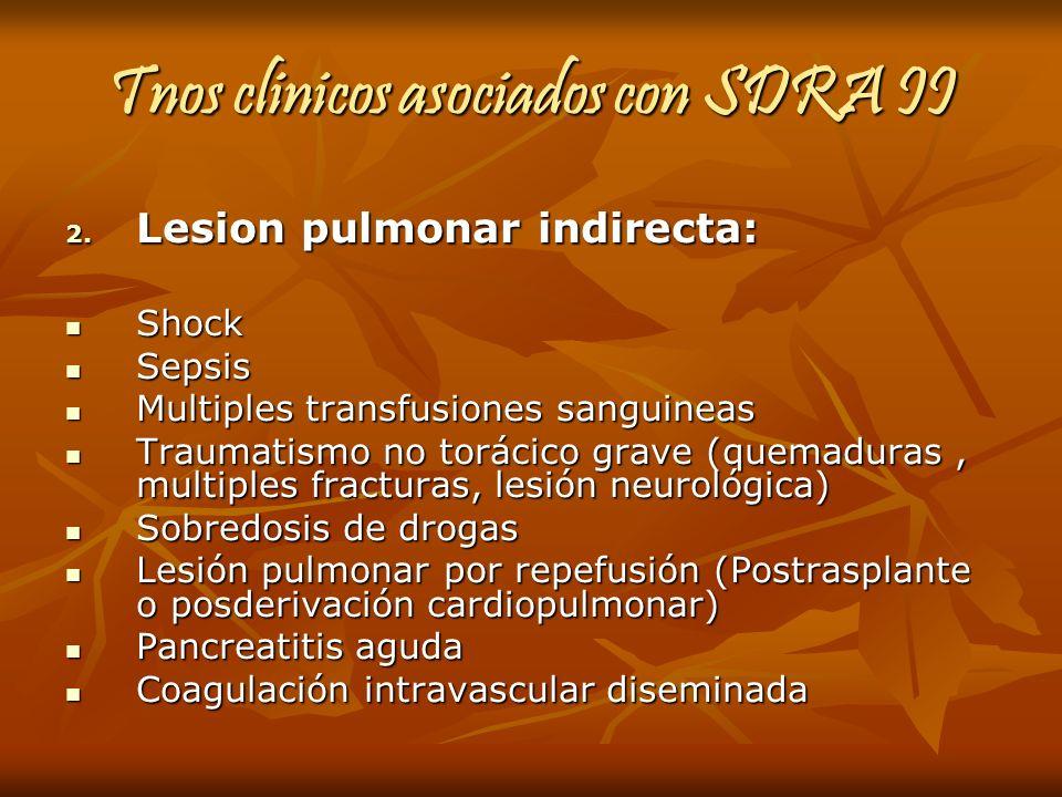 Tnos clinicos asociados con SDRA II 2. Lesion pulmonar indirecta: Shock Shock Sepsis Sepsis Multiples transfusiones sanguineas Multiples transfusiones