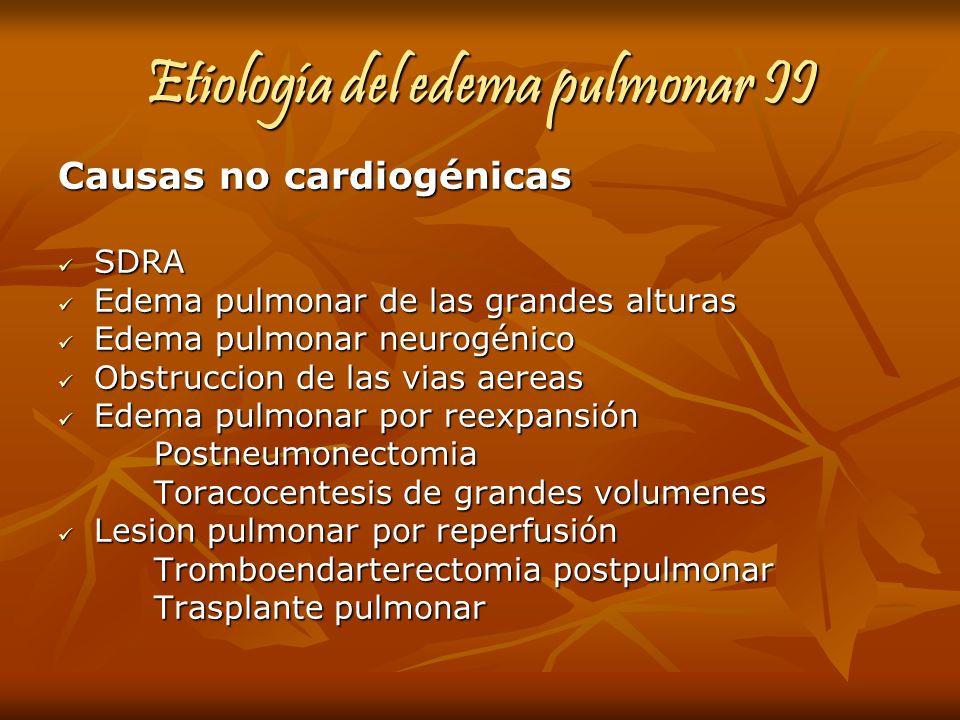 Etiología del edema pulmonar II Causas no cardiogénicas SDRA SDRA Edema pulmonar de las grandes alturas Edema pulmonar de las grandes alturas Edema pu