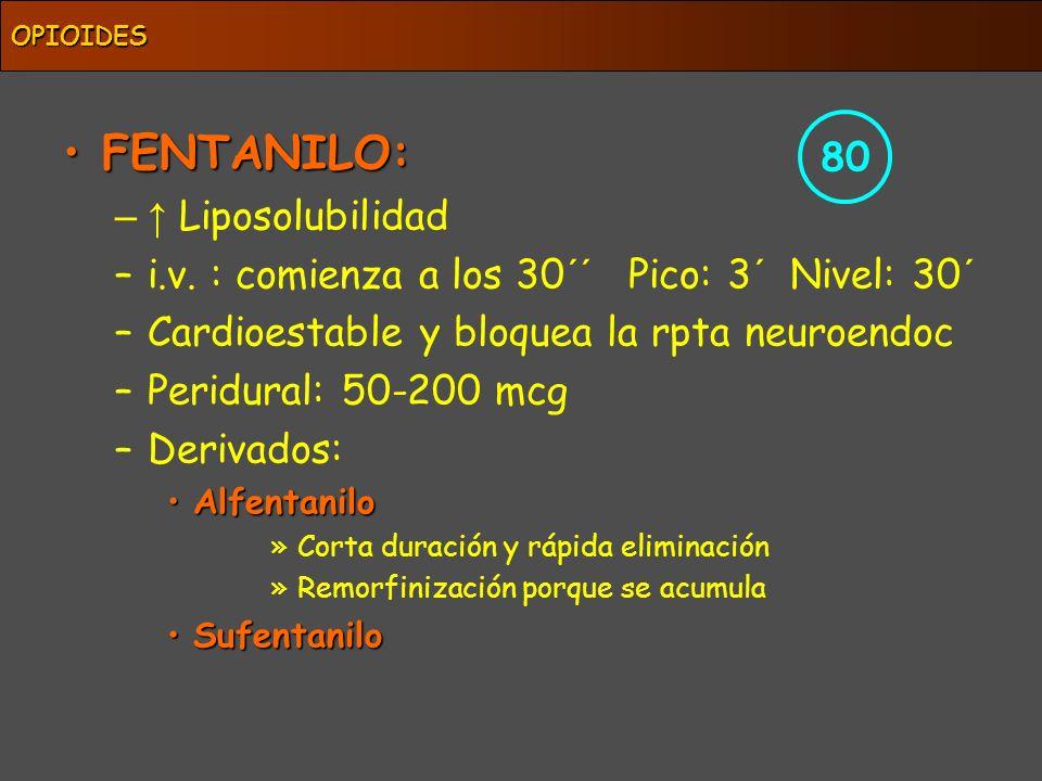 FENTANILO:FENTANILO: – Liposolubilidad –i.v. : comienza a los 30´´ Pico: 3´ Nivel: 30´ –Cardioestable y bloquea la rpta neuroendoc –Peridural: 50-200