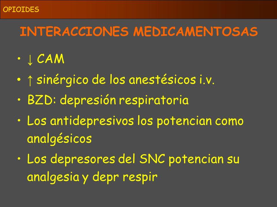 INTERACCIONES MEDICAMENTOSAS CAM sinérgico de los anestésicos i.v. BZD: depresión respiratoria Los antidepresivos los potencian como analgésicos Los d