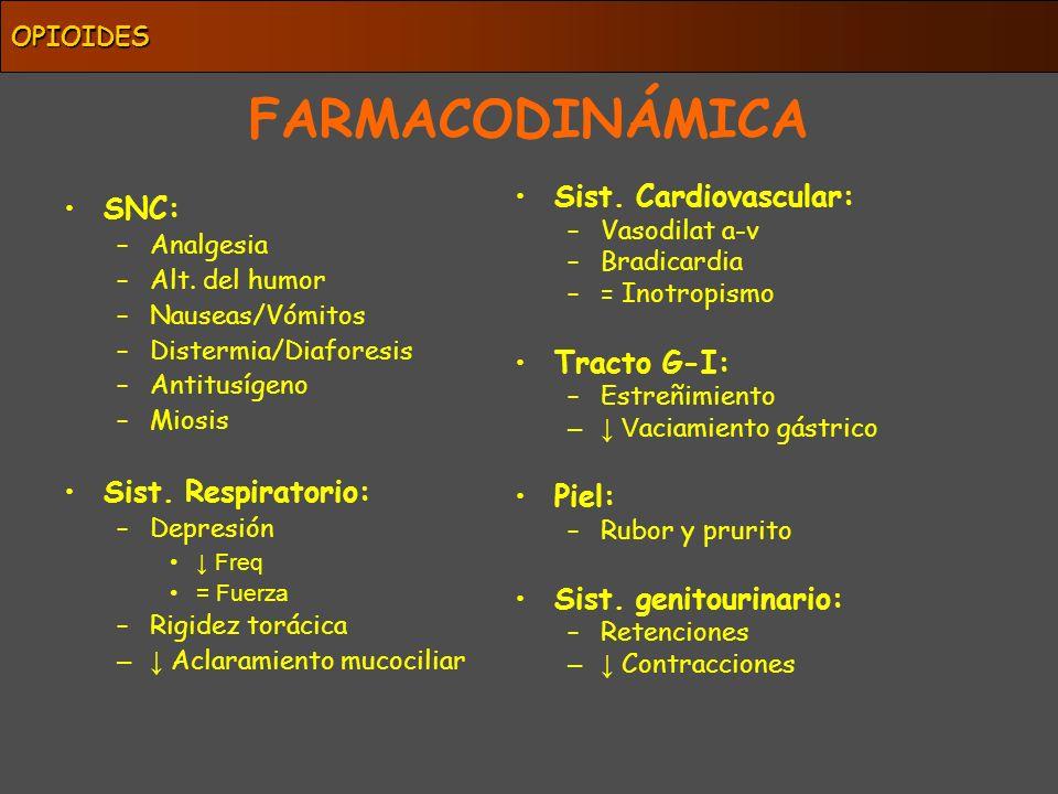 OPIOIDES Sufentanilo 500-1000 Remi / Fentanilo 80-100 Alfentanilo 70 Buprenorfina 30-50 Heroína 3-4 Metadona 1.5 Morfina 1 Tramadol 0.1-0.5 Meperidina 0.5 Dextropropoxifeno 0.2 Codeina 0.1 POTENCIA ANALGÉSICA