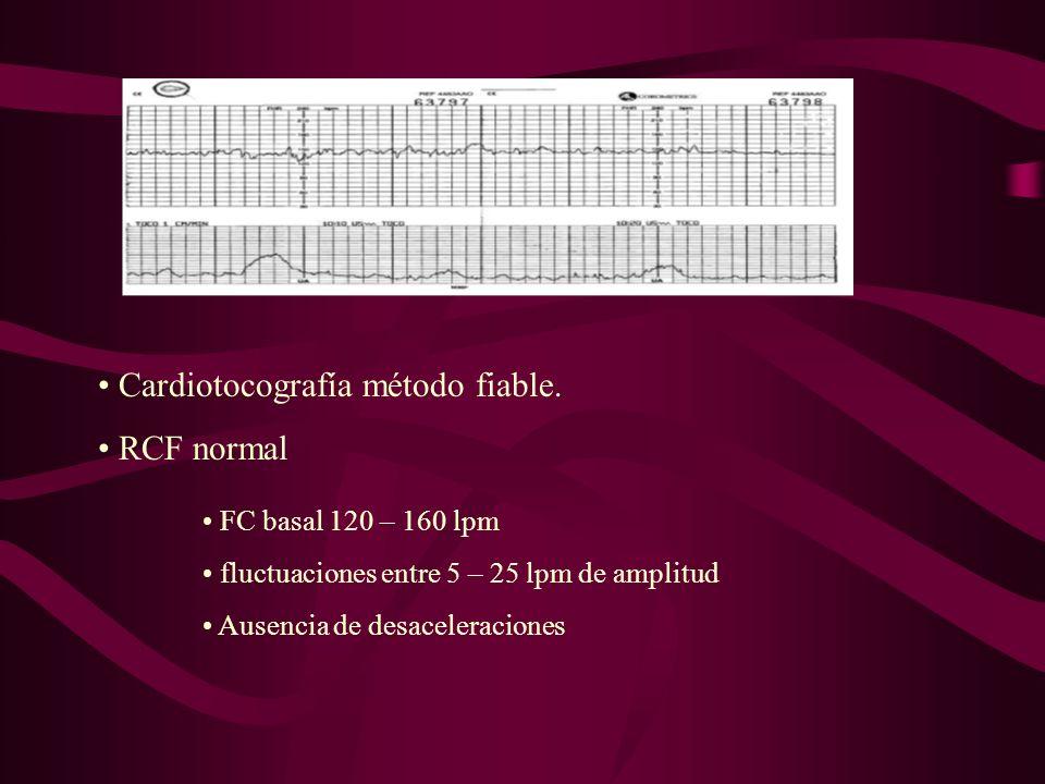 ANOMALÍAS RCF Anomalías ritmo basal Bradicardia marcada, < 100 lpm malf.cardiaca Bradicardia intensa y prolongada, < 60 lpm FCF SFA FCF Taquicardia aislada, moderada, 160 – 180 lpm frm vagoliticos Taquicardia > 180 lpm corioamnionitis Taquicardia > 200 lpm taquiarritmia fetal SI SE ACOMPAÑAN DE ALTERACIÓN EN VARIABILIDAD PEOR PRONÓSTICO