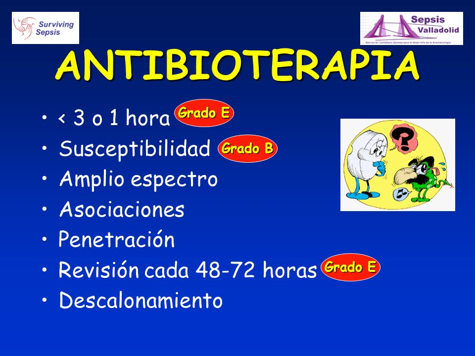ANTIBIOTERAPIA < 3 o 1 hora Susceptibilidad Amplio espectro Asociaciones Penetración Revisión cada 48-72 horas Descalonamiento Grado E Grado B Grado E