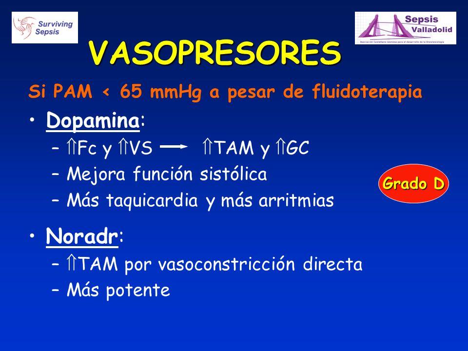 VASOPRESORES Si PAM < 65 mmHg a pesar de fluidoterapia Dopamina: – Fc y VS TAM y GC –Mejora función sistólica –Más taquicardia y más arritmias Noradr: