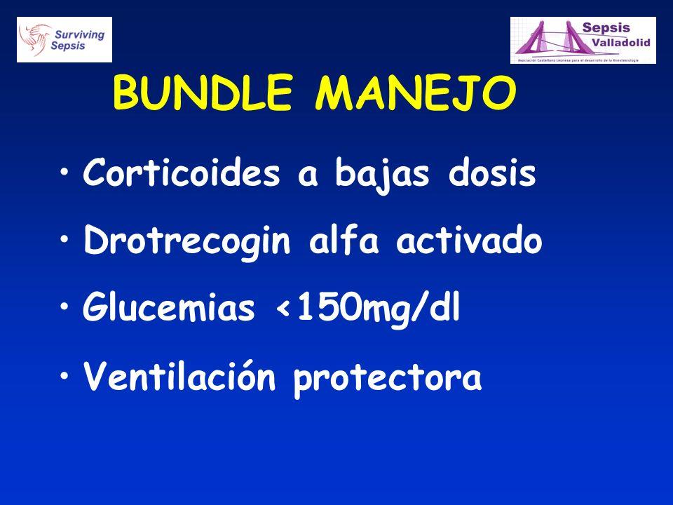 BUNDLE MANEJO Corticoides a bajas dosis Drotrecogin alfa activado Glucemias <150mg/dl Ventilación protectora