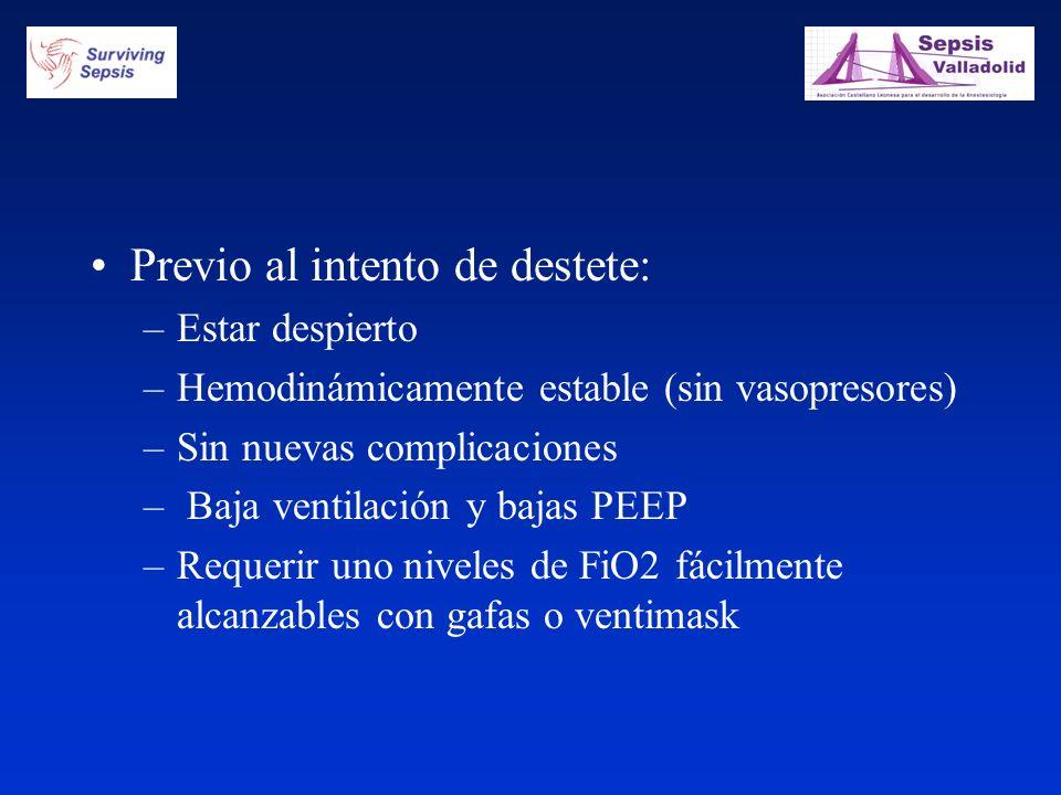 Previo al intento de destete: –Estar despierto –Hemodinámicamente estable (sin vasopresores) –Sin nuevas complicaciones – Baja ventilación y bajas PEE