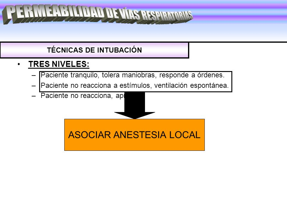 TRES NIVELES: –Paciente tranquilo, tolera maniobras, responde a órdenes. –Paciente no reacciona a estímulos, ventilación espontánea. –Paciente no reac