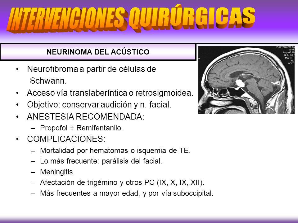 Neurofibroma a partir de células de Schwann. Acceso vía translaberíntica o retrosigmoidea. Objetivo: conservar audición y n. facial. ANESTESIA RECOMEN
