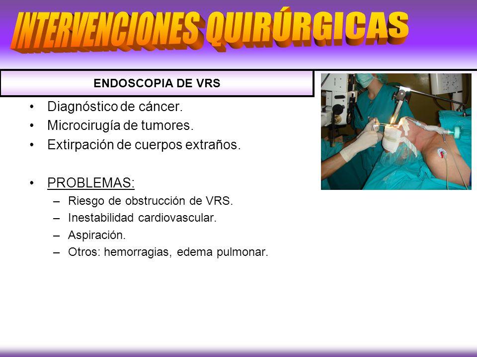 Diagnóstico de cáncer. Microcirugía de tumores. Extirpación de cuerpos extraños. PROBLEMAS: –Riesgo de obstrucción de VRS. –Inestabilidad cardiovascul