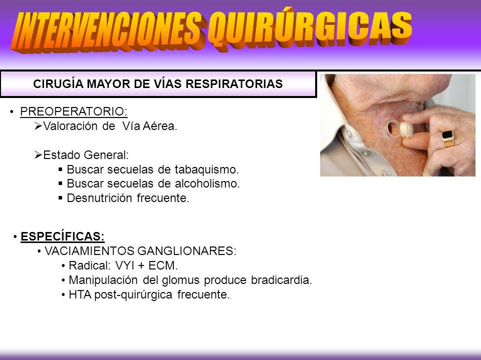 CIRUGÍA MAYOR DE VÍAS RESPIRATORIAS PREOPERATORIO: Valoración de Vía Aérea. Estado General: Buscar secuelas de tabaquismo. Buscar secuelas de alcoholi