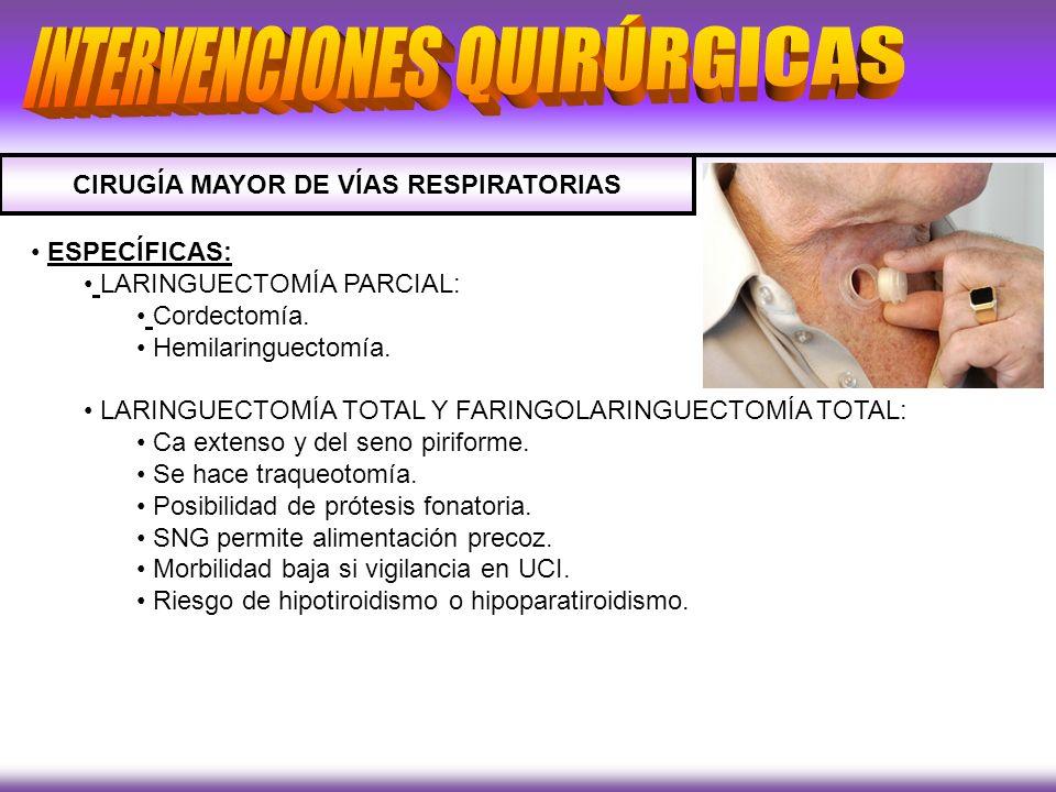 CIRUGÍA MAYOR DE VÍAS RESPIRATORIAS ESPECÍFICAS: LARINGUECTOMÍA PARCIAL: Cordectomía. Hemilaringuectomía. LARINGUECTOMÍA TOTAL Y FARINGOLARINGUECTOMÍA