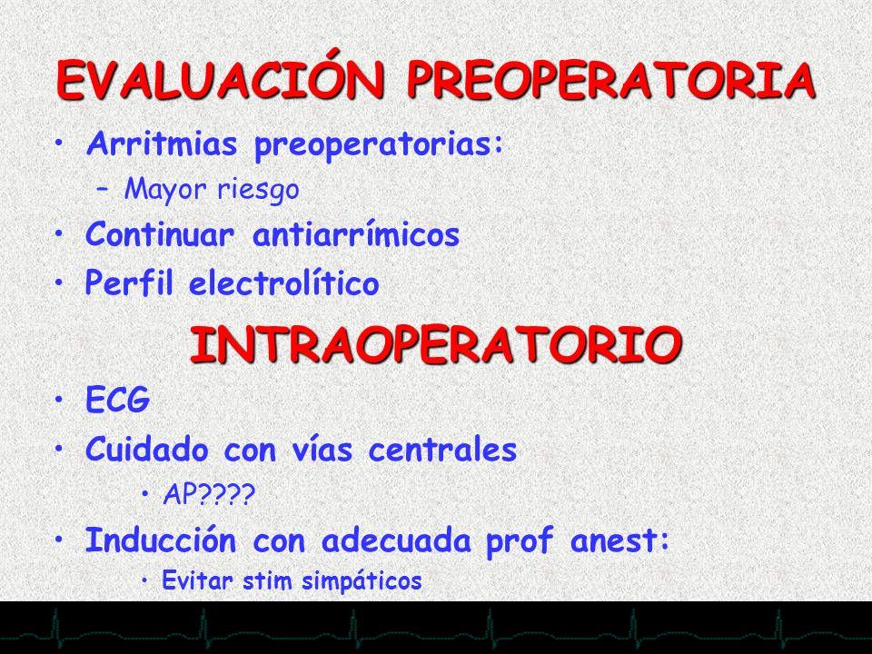 28/11/2007 EVALUACIÓN PREOPERATORIA Arritmias preoperatorias: –Mayor riesgo Continuar antiarrímicos Perfil electrolítico INTRAOPERATORIO ECG Cuidado c