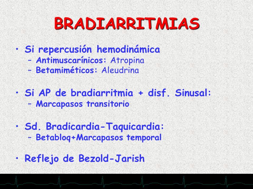 28/11/2007 BRADIARRITMIAS Si repercusión hemodinámica –Antimuscarínicos: Atropina –Betamiméticos: Aleudrina Si AP de bradiarritmia + disf. Sinusal: –M