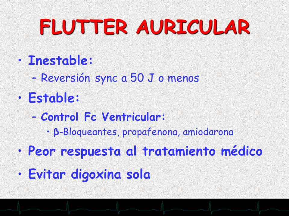 28/11/2007 FLUTTER AURICULAR Inestable: –Reversión sync a 50 J o menos Estable: –Control Fc Ventricular: β-Bloqueantes, propafenona, amiodarona Peor r