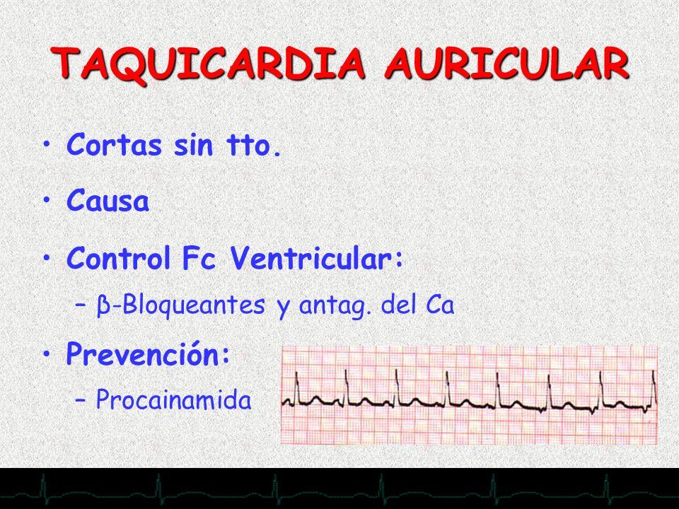 28/11/2007 TAQUICARDIA AURICULAR Cortas sin tto. Causa Control Fc Ventricular: –β-Bloqueantes y antag. del Ca Prevención: –Procainamida