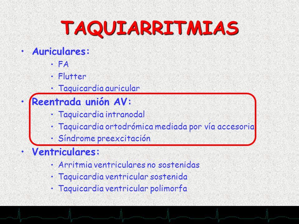 28/11/2007 TAQUIARRITMIAS Auriculares: FA Flutter Taquicardia auricular Reentrada unión AV: Taquicardia intranodal Taquicardia ortodrómica mediada por