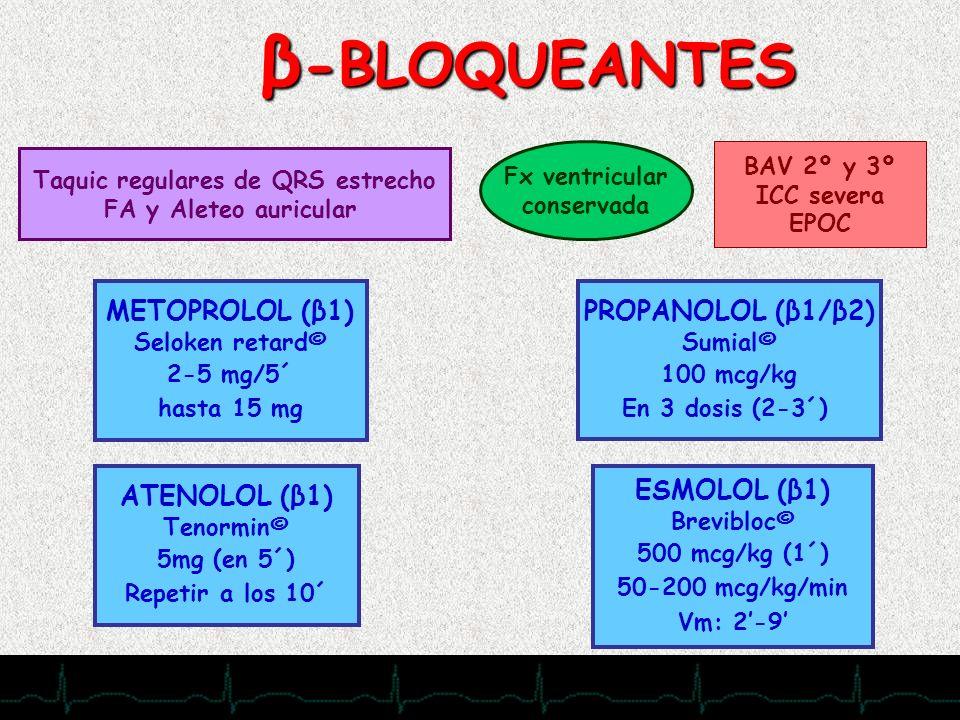 28/11/2007 β -BLOQUEANTES Taquic regulares de QRS estrecho FA y Aleteo auricular Fx ventricular conservada BAV 2º y 3º ICC severa EPOC ATENOLOL (β1) T