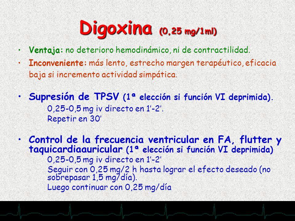 28/11/2007 Digoxina (0,25 mg/1ml) Ventaja: no deterioro hemodinámico, ni de contractilidad. Inconveniente: más lento, estrecho margen terapéutico, efi