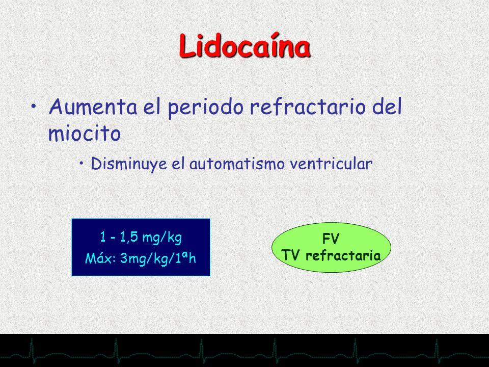28/11/2007 Lidocaína Aumenta el periodo refractario del miocito Disminuye el automatismo ventricular 1 - 1,5 mg/kg Máx: 3mg/kg/1ªh FV TV refractaria