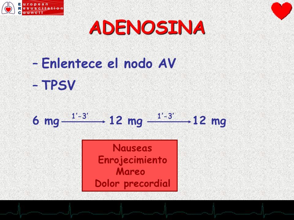 28/11/2007 –Enlentece el nodo AV –TPSV 6 mg 12 mg 12 mg ADENOSINA 1-3 Nauseas Enrojecimiento Mareo Dolor precordial