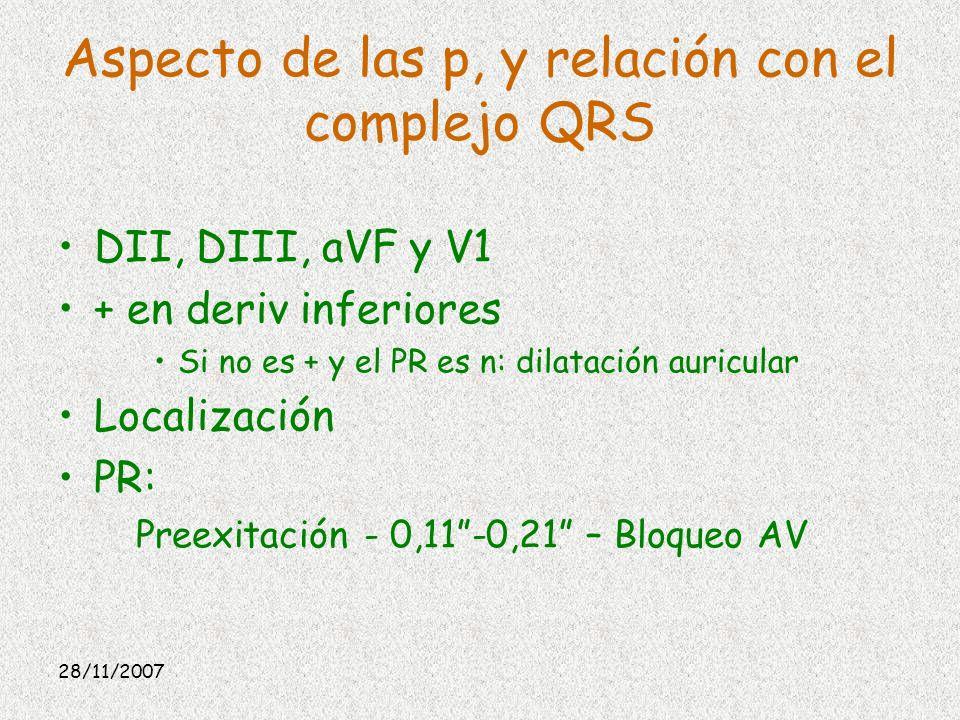 Aspecto de las p, y relación con el complejo QRS DII, DIII, aVF y V1 + en deriv inferiores Si no es + y el PR es n: dilatación auricular Localización