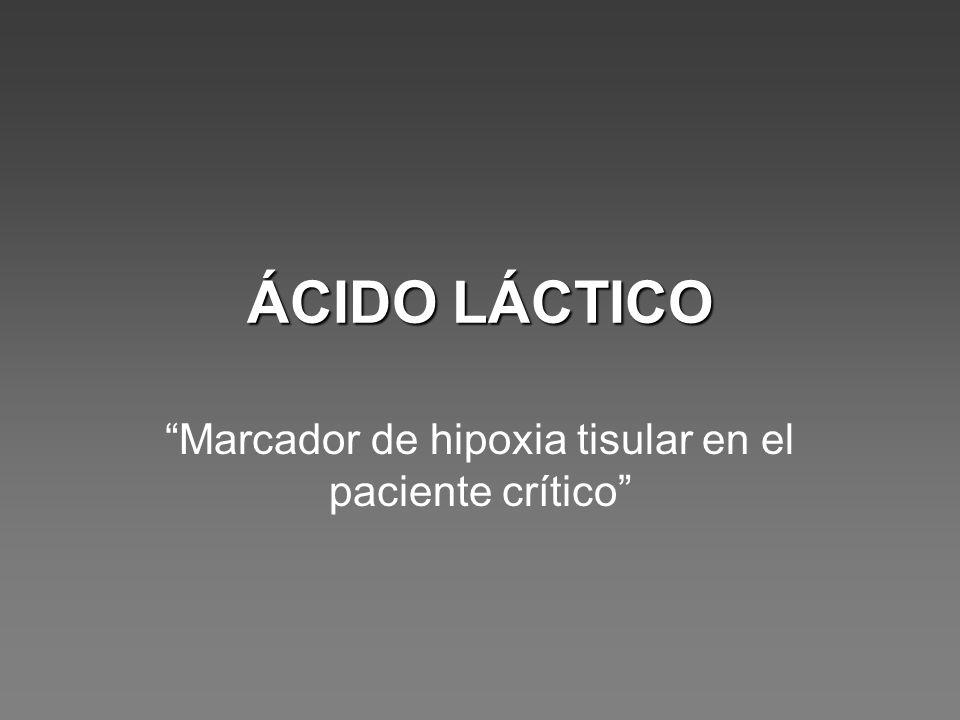 ÁCIDO LÁCTICO Marcador de hipoxia tisular en el paciente crítico