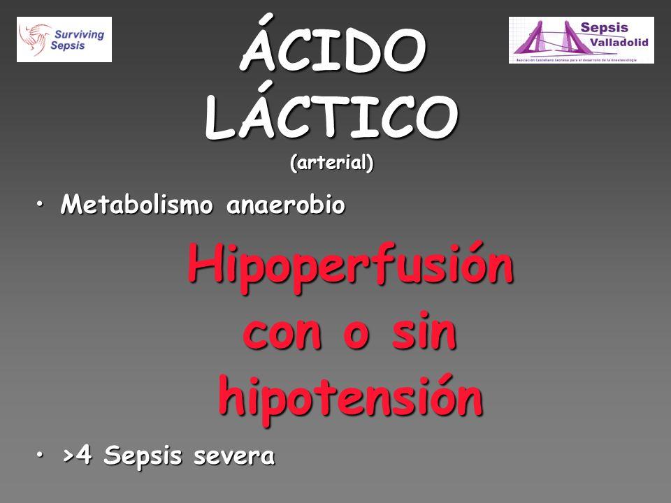 ÁCIDO LÁCTICO (arterial) Metabolismo anaerobioMetabolismo anaerobioHipoperfusión con o sin hipotensión >4 Sepsis severa>4 Sepsis severa