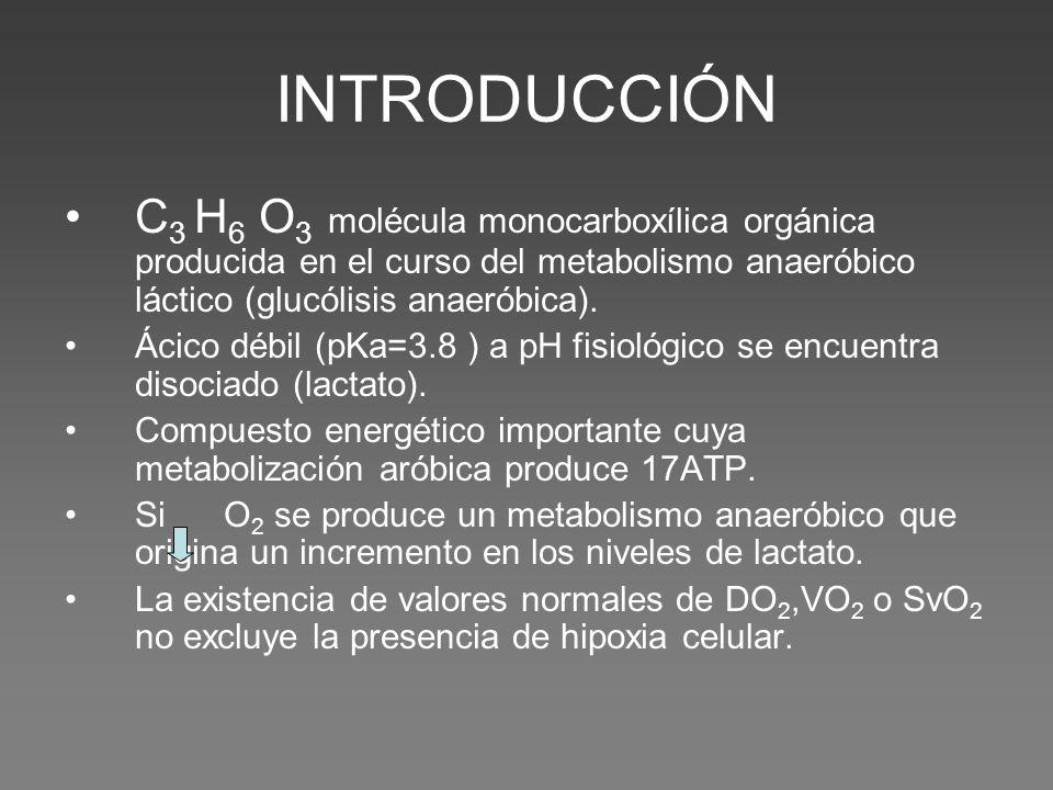 INTRODUCCIÓN C 3 H 6 O 3 molécula monocarboxílica orgánica producida en el curso del metabolismo anaeróbico láctico (glucólisis anaeróbica).