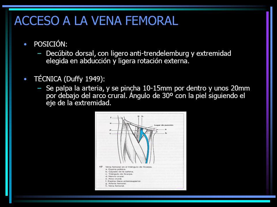 ACCESO A LA VENA FEMORAL POSICIÓN: –Decúbito dorsal, con ligero anti-trendelemburg y extremidad elegida en abducción y ligera rotación externa. TÉCNIC