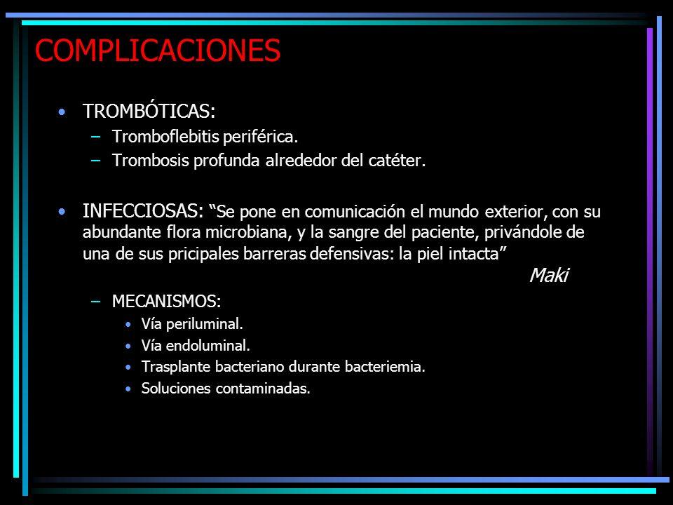 COMPLICACIONES TROMBÓTICAS: –Tromboflebitis periférica. –Trombosis profunda alrededor del catéter. INFECCIOSAS: Se pone en comunicación el mundo exter