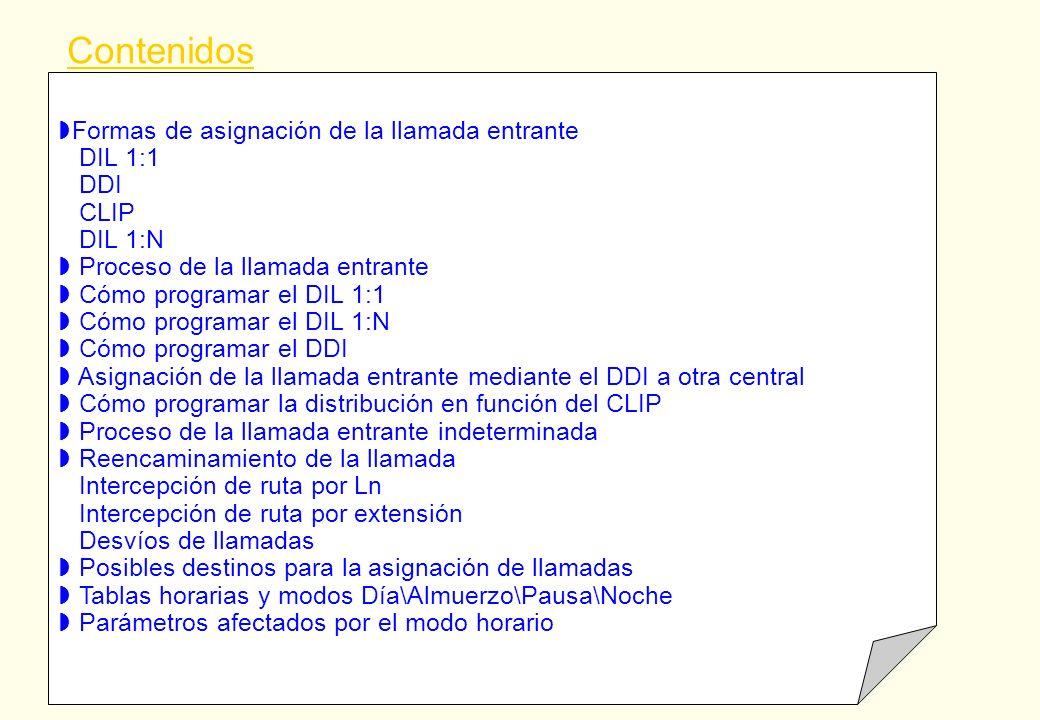 Formas de asignación de la llamada entrante DIL 1:1 DDI CLIP DIL 1:N Proceso de la llamada entrante Cómo programar el DIL 1:1 Cómo programar el DIL 1: