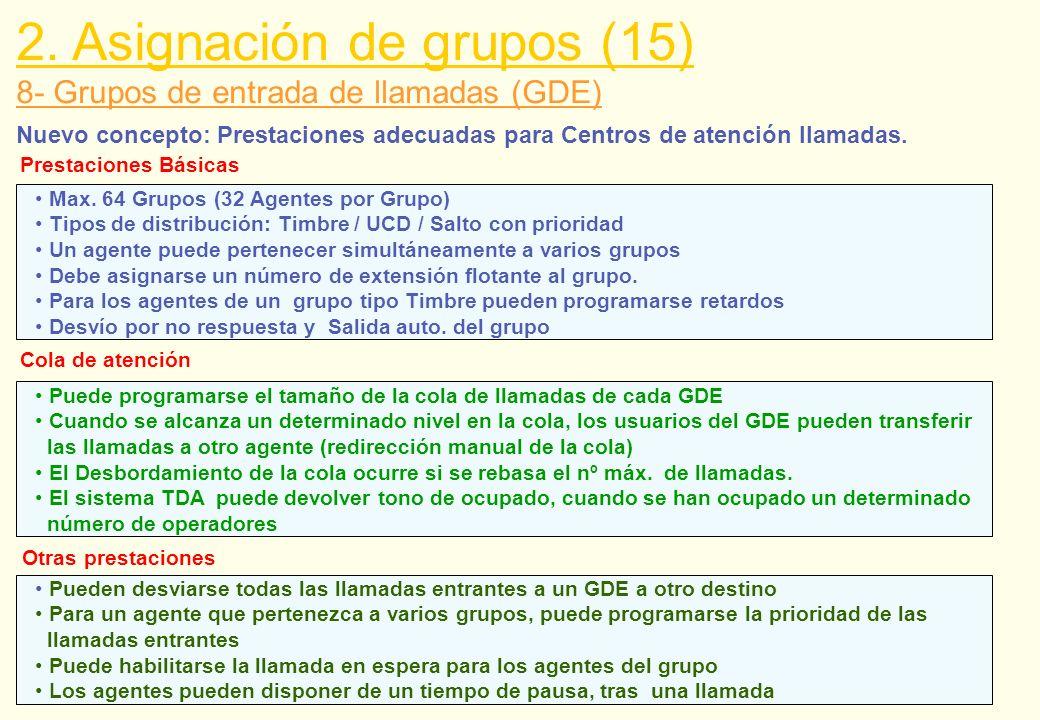 8- Grupos de entrada de llamadas (GDE) 2. Asignación de grupos (15) Nuevo concepto: Prestaciones adecuadas para Centros de atención llamadas. Max. 64